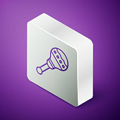 Isometric line Maracas icon isolated on purple background. Music maracas instrument mexico. Silver square button. Vector Illustration