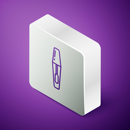 Isometric line Mascara brush icon isolated on purple background. Silver square button. Vector Illustration