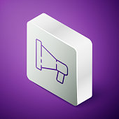 Isometric line Megaphone icon isolated on purple background. Speaker sign. Silver square button. Vector Illustration