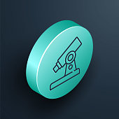 Isometric line Microscope icon isolated on black background. Chemistry, pharmaceutical instrument, microbiology magnifying tool. Turquoise circle button. Vector.