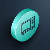 Isometric line Microwave oven icon isolated on black background. Home appliances icon. Turquoise circle button. Vector Illustration