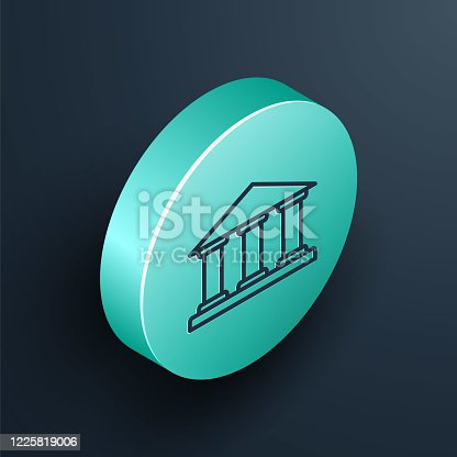 Isometric line Museum building icon isolated on black background. Turquoise circle button. Vector Illustration