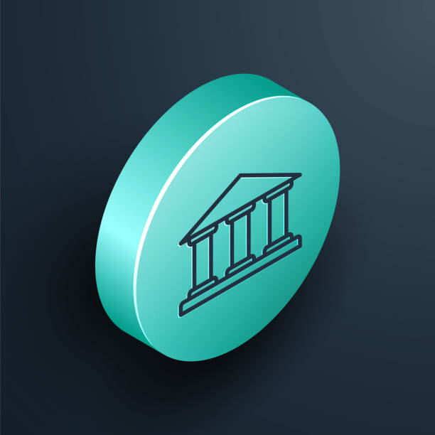 Isometric line Museum building icon isolated on black background. Turquoise circle button. Vector Illustration Isometric line Museum building icon isolated on black background. Turquoise circle button. Vector Illustration blue clipart stock illustrations