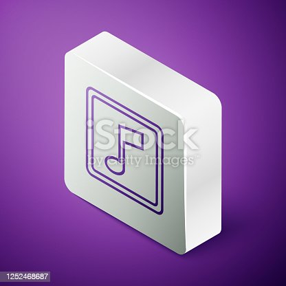 istock Isometric line Music note, tone icon isolated on purple background. Silver square button. Vector Illustration 1252468687