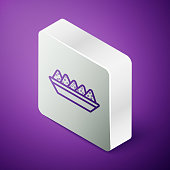 Isometric line Nachos in plate icon isolated on purple background. Tortilla chips or nachos tortillas. Traditional mexican fast food menu. Silver square button. Vector Illustration