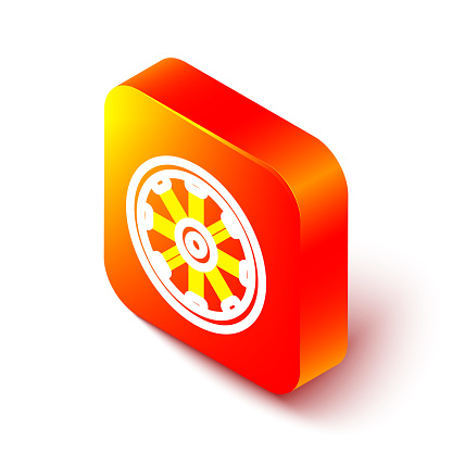 Isometric line Old wooden wheel icon isolated on white background. Orange square button. Vector