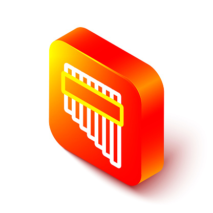 Isometric line Pan flute icon isolated on white background. Traditional peruvian musical instrument. Zampona. Folk instrument from Peru, Bolivia and Mexico. Orange square button. Vector.