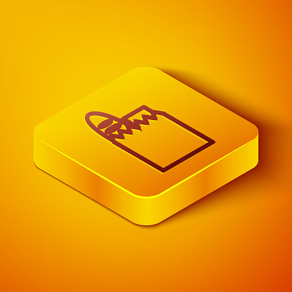 Isometric line Paper shopping bag and food icon isolated on orange background. Food store, supermarket. Yellow square button. Vector Illustration