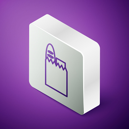 Isometric line Paper shopping bag and food icon isolated on purple background. Food store, supermarket. Silver square button. Vector Illustration