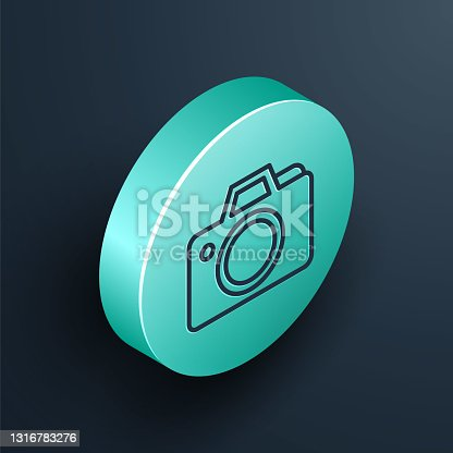 istock Isometric line Photo camera icon isolated on black background. Foto camera icon. Turquoise circle button. Vector 1316783276