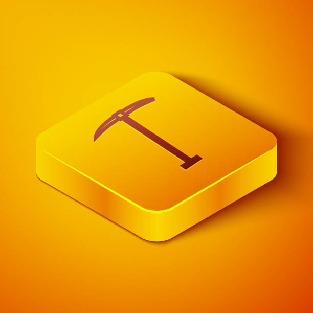 Isometric line Pickaxe icon isolated on orange background. Yellow square button. Vector Illustration Isometric line Pickaxe icon isolated on orange background. Yellow square button. Vector Illustration mattock stock illustrations