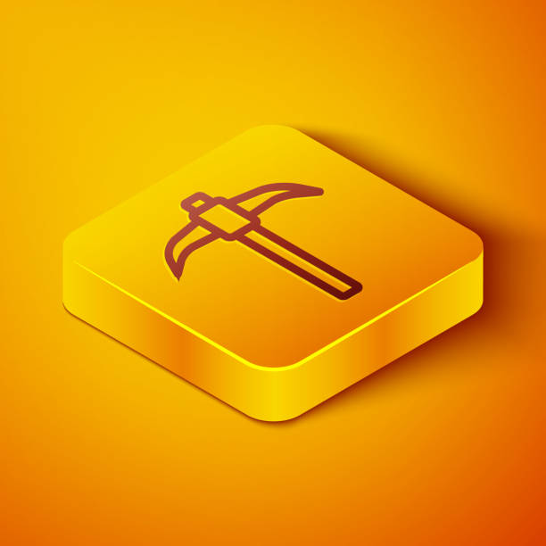 Isometric line Pickaxe icon isolated on orange background. Yellow square button. Vector Isometric line Pickaxe icon isolated on orange background. Yellow square button. Vector. mattock stock illustrations