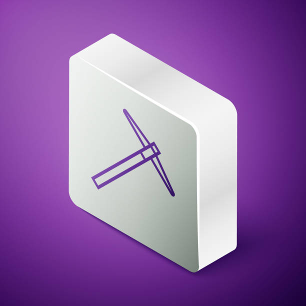 Isometric line Pickaxe icon isolated on purple background. Silver square button. Vector Illustration Isometric line Pickaxe icon isolated on purple background. Silver square button. Vector Illustration mattock stock illustrations