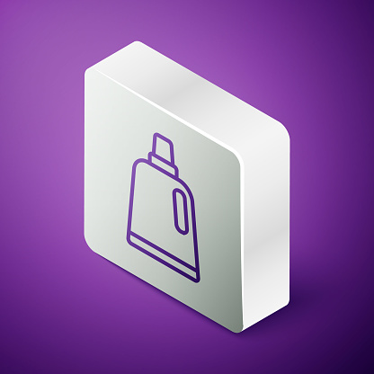 Isometric line Plastic bottle for laundry detergent, bleach, dishwashing liquid or another cleaning agent icon isolated on purple background. Silver square button. Vector