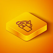 istock Isometric line Recycling plastic bottle icon isolated on orange background. Yellow square button. Vector Illustration 1248993099