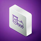 Isometric line Retro train icon isolated on purple background. Public transportation symbol. Silver square button. Vector Illustration