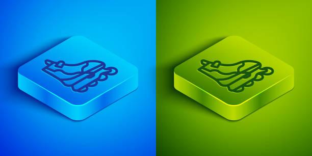 ilustrações, clipart, desenhos animados e ícones de linha isométrica ícone de patins de patins isolado em fundo azul e verde. botão quadrado. ilustração vetorial - ícones de design planar
