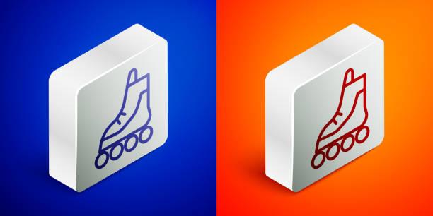 ilustrações, clipart, desenhos animados e ícones de linha isométrica ícone de patins de patins isolado em fundo azul e laranja. botão quadrado prateado. ilustração vetorial - ícones de design planar
