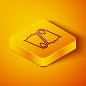 Isometric line Rubber flippers for swimming icon isolated on orange background. Diving equipment. Extreme sport. Sport equipment. Yellow square button. Vector Illustration