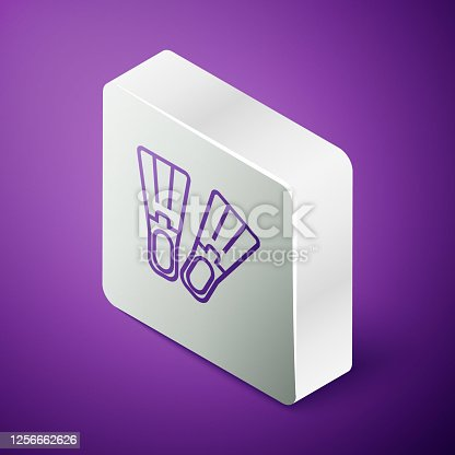 istock Isometric line Rubber flippers for swimming icon isolated on purple background. Diving equipment. Extreme sport. Sport equipment. Silver square button. Vector Illustration 1256662626
