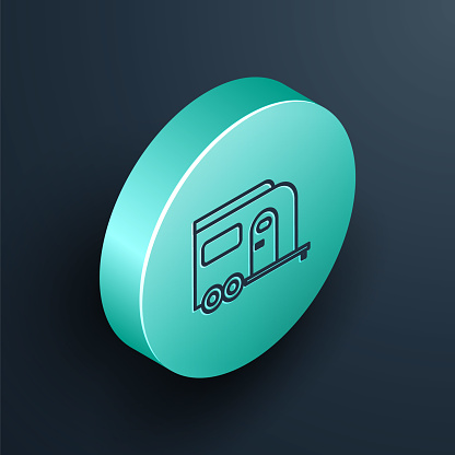 Isometric line Rv Camping trailer icon isolated on black background. Travel mobile home, caravan, home camper for travel. Turquoise circle button. Vector Illustration