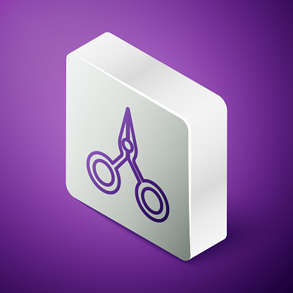 Isometric line Scissors icon isolated on purple background. Cutting tool sign. Silver square button. Vector Illustration