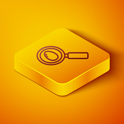 Isometric line Search and easter egg icon isolated on orange background. Happy Easter. Yellow square button. Vector Illustration