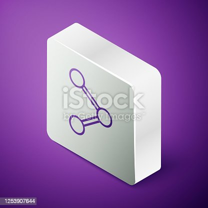 istock Isometric line Share icon isolated on purple background. Share, sharing, communication pictogram, social media, connection, network. Silver square button. Vector Illustration 1253907644