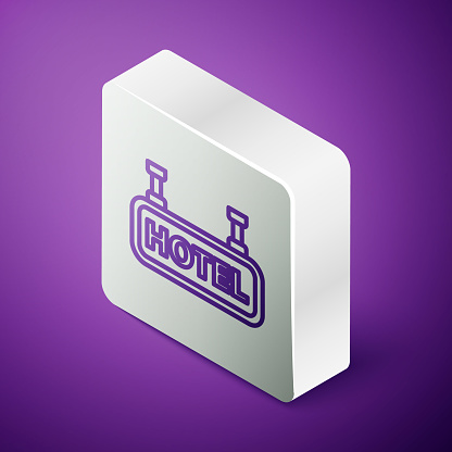 Isometric line Signboard outdoor advertising with text Hotel icon isolated on purple background. Silver square button. Vector Illustration