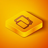 Isometric line Smartphone, mobile phone and graphic tablet icon isolated on orange background. Yellow square button. Vector Illustration