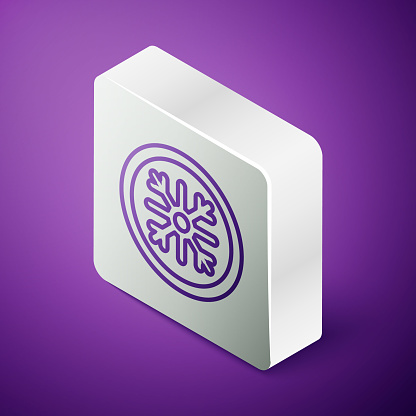 Isometric line Snowflake icon isolated on purple background. Silver square button. Vector