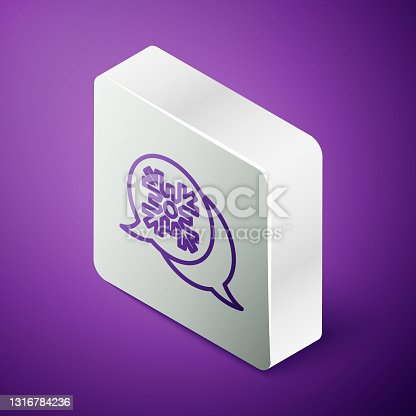 istock Isometric line Snowflake with speech bubble icon isolated on purple background. Merry Christmas and Happy New Year. Silver square button. Vector 1316784236