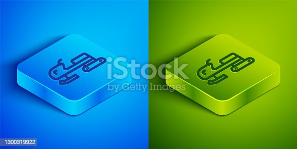 istock Isometric line Snowmobile icon isolated on blue and green background. Snowmobiling sign. Extreme sport. Square button. Vector 1300319922