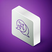 Isometric line Speech bubble with airplane travel icon isolated on purple background. Plane flight transport sign. Holidays symbol. Silver square button. Vector Illustration