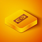 Isometric line Stacks paper money cash icon isolated on orange background. Money banknotes stacks. Bill currency. Yellow square button. Vector Illustration