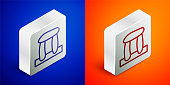 Isometric line Stonehenge icon isolated on blue and orange background. Silver square button. Vector.
