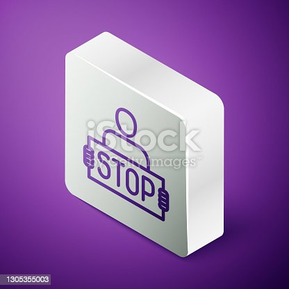 istock Isometric line Stop war icon isolated on purple background. Antiwar protest. World peace concept. Silver square button. Vector 1305355003