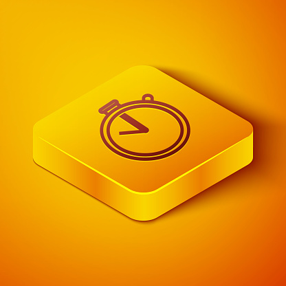 Isometric line Stopwatch icon isolated on orange background. Time timer sign. Chronometer sign. Yellow square button. Vector Illustration