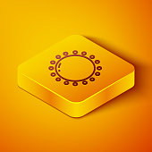 Isometric line Sun icon isolated on orange background. Summer symbol. Good sunny day. Yellow square button. Vector Illustration