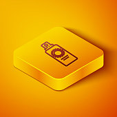 Isometric line Sunscreen spray bottle icon isolated on orange background. Protection for the skin from solar ultraviolet light. Yellow square button. Vector Illustration