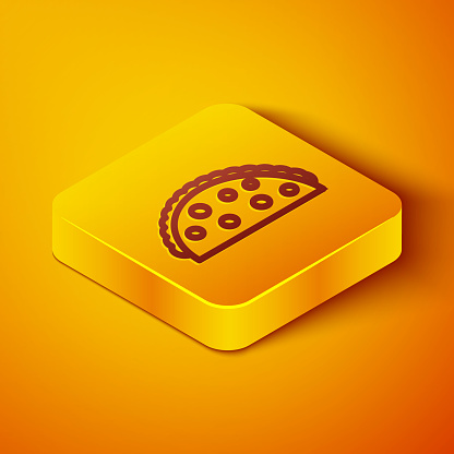 Isometric line Taco with tortilla icon isolated on orange background. Traditional mexican fast food menu. Yellow square button. Vector Illustration