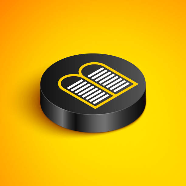 Isometric line The commandments icon isolated on yellow background. Gods law concept. Black circle button. Vector Isometric line The commandments icon isolated on yellow background. Gods law concept. Black circle button. Vector. moses religious figure stock illustrations