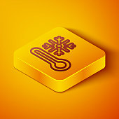 istock Isometric line Thermometer with snowflake icon isolated on orange background. Yellow square button. Vector 1271985500