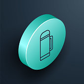 istock Isometric line Thermos container icon isolated on black background. Thermo flask icon. Camping and hiking equipment. Turquoise circle button. Vector Illustration 1271398688