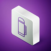 istock Isometric line Thermos container icon isolated on purple background. Thermo flask icon. Camping and hiking equipment. Silver square button. Vector Illustration 1269295670