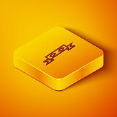 Isometric line Thief eye mask icon isolated on orange background. Yellow square button. Vector Illustration