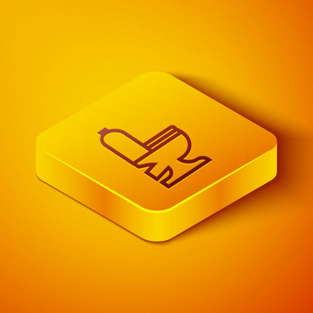Isometric line Toilet bowl icon isolated on orange background. Yellow square button. Vector Illustration Isometric line Toilet bowl icon isolated on orange background. Yellow square button. Vector Illustration flushing toilet stock illustrations