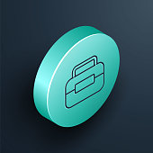 istock Isometric line Toolbox icon isolated on black background. Tool box sign. Turquoise circle button. Vector Illustration 1253907475