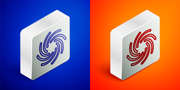 Isometric line Tornado icon isolated on blue and orange background. Cyclone, whirlwind, storm funnel, hurricane wind or twister weather icon. Silver square button. Vector