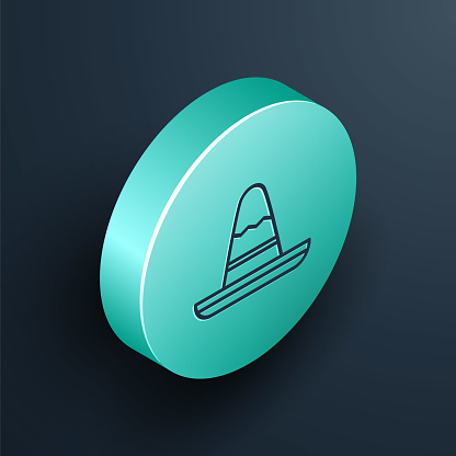 Isometric line Traditional mexican sombrero hat icon isolated on black background. Turquoise circle button. Vector Illustration